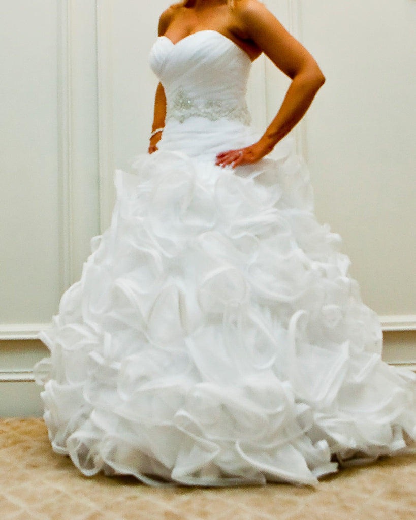 David's 'Signature' size 6 used wedding dress front view on bride