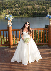 Wtoo 'Mimi 15828' size 10 used wedding dress front view on bride