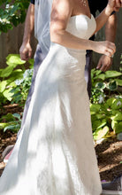 Load image into Gallery viewer, David's Bridal 'Lace Strapless' size 8 used wedding dress side view on bride