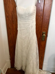 David's Bridal 'Lace Strapless' size 8 used wedding dress front view on hanger