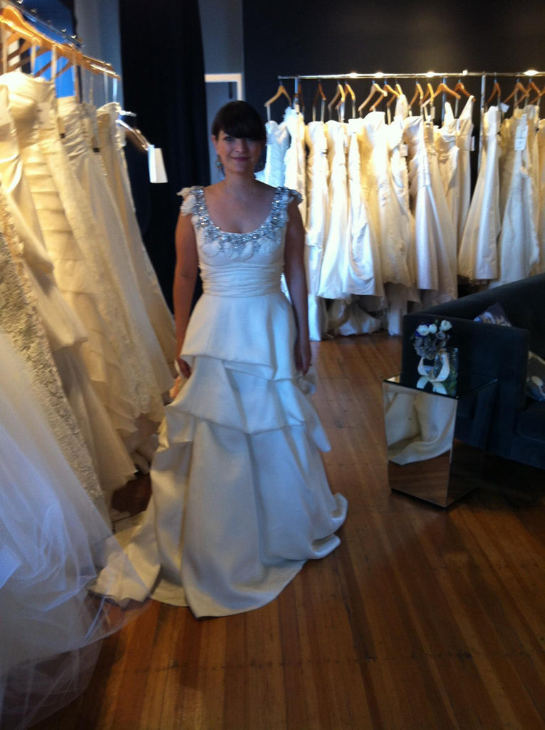 Monique Lhuillier Rihanna Sleeveless Pickup Wedding Dress - Monique Lhuillier - Nearly Newlywed Bridal Boutique - 4