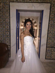 Reem Acra 'Ourania' size 10 sample wedding dress front view of bride