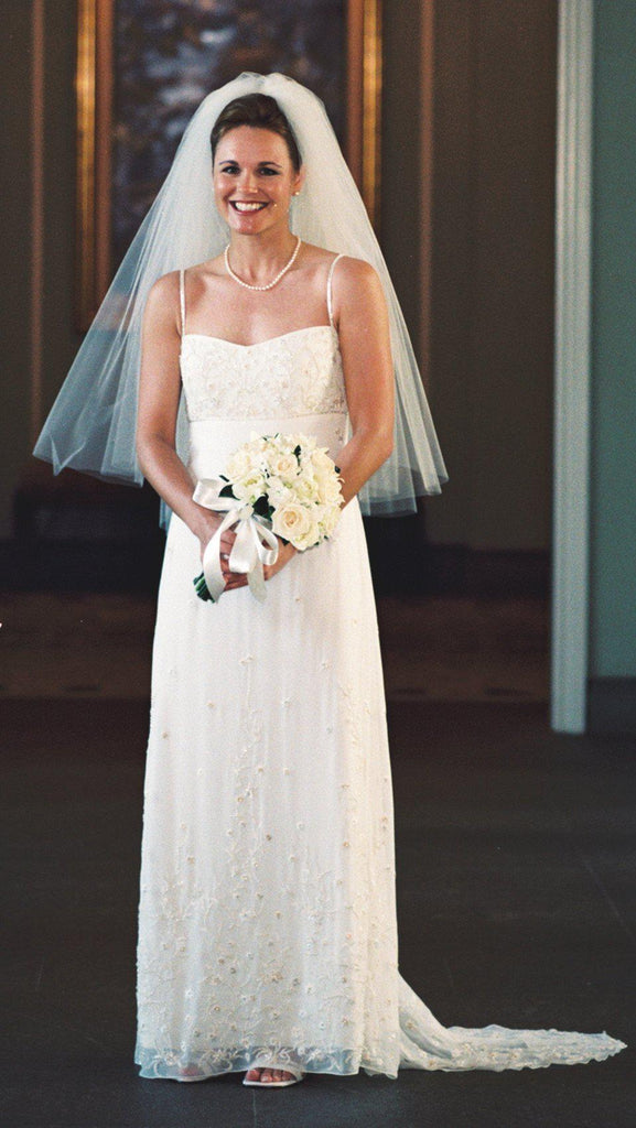 Anne Barge White Silk Column Gown - Anne Barge - Nearly Newlywed Bridal Boutique - 4