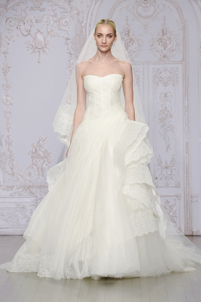 Monique Lhuillier 'Whisper with veil' size 4 used wedding dress front view on model