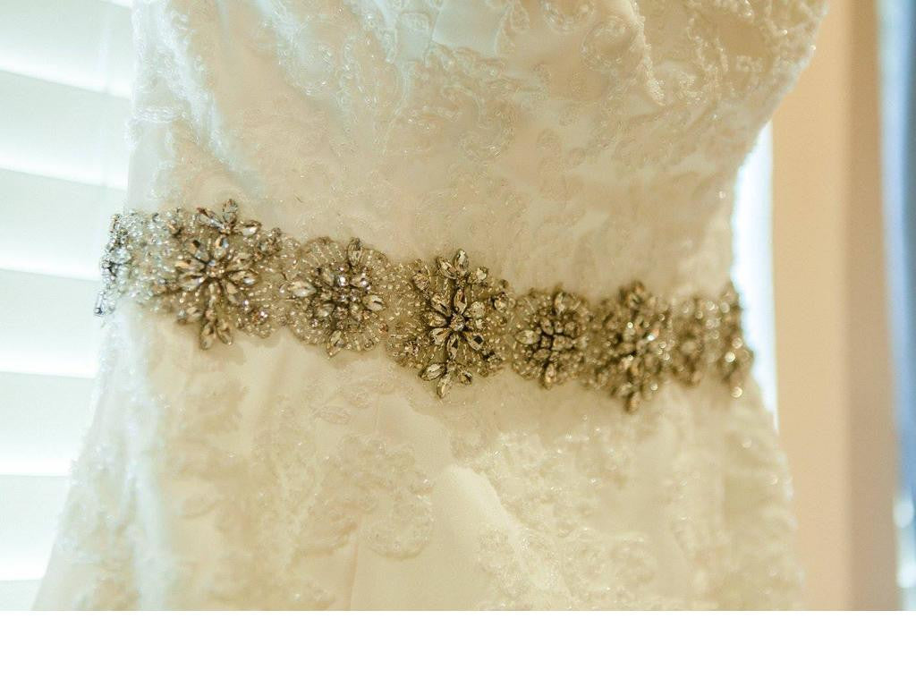 Winnie Couture 'Teagan' size 10 used wedding dress close up of beltline