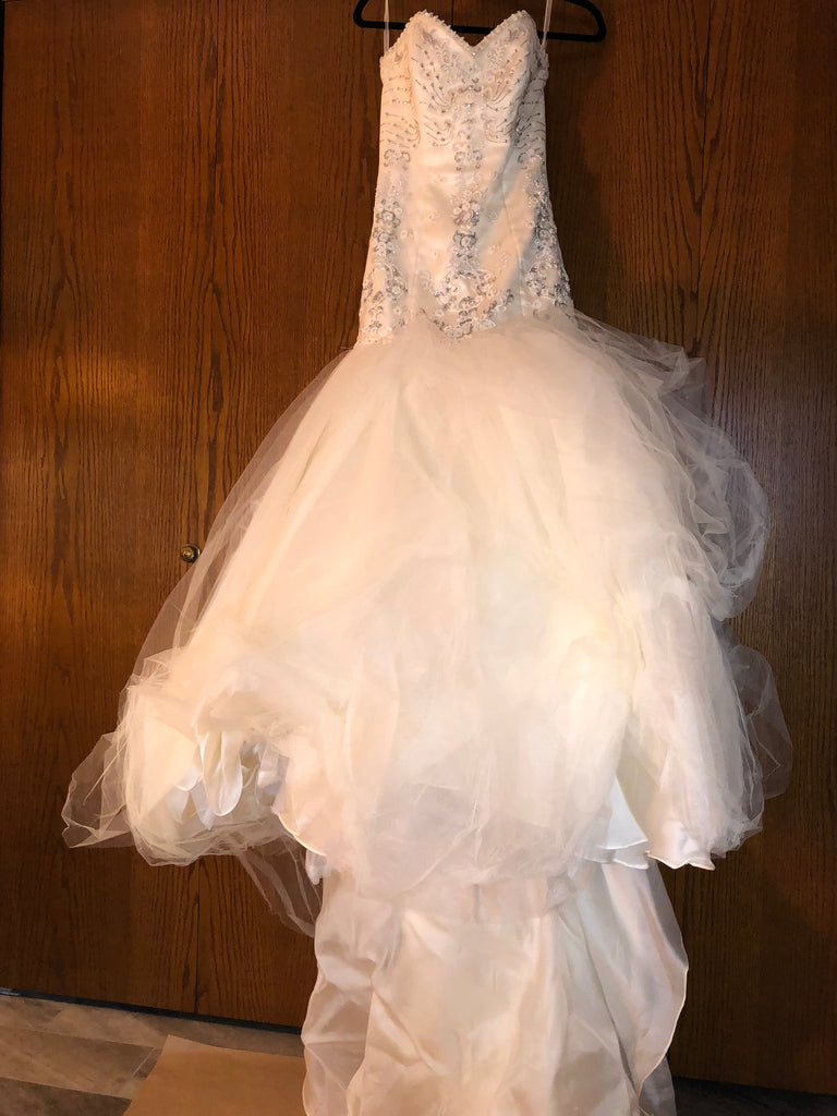 Exquisite Bride 'Zoe' size 10 new wedding dress front view on hanger