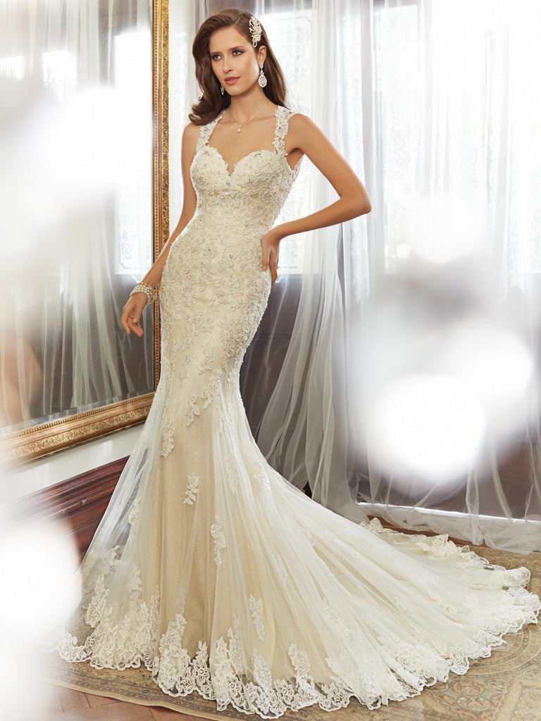 Sophia Tolli 'Robin' size 2 used wedding dress front view on model
