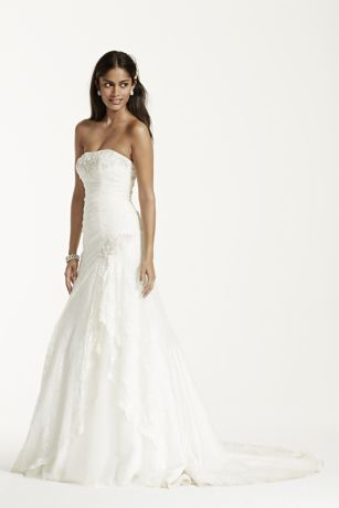 David's Bridal 'Lace A Line Gown with Side Split AI10030312'