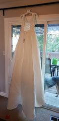 David's Bridal 'Beaded' size 12 new wedding dress back view on hanger