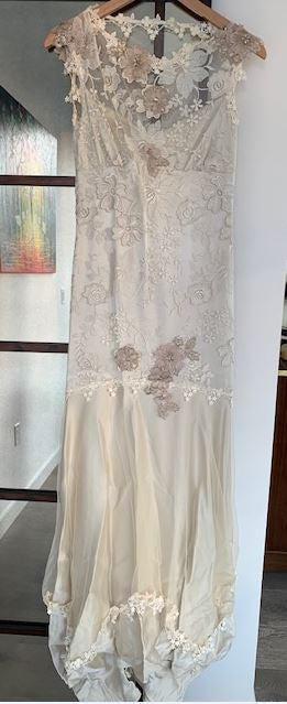 Claire Pettibone 'Viola' size 2 used wedding dress front view on hanger