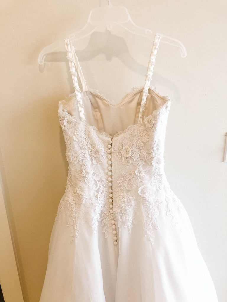 Pronovias 'Custom' size 2 used wedding dress back view on hanger