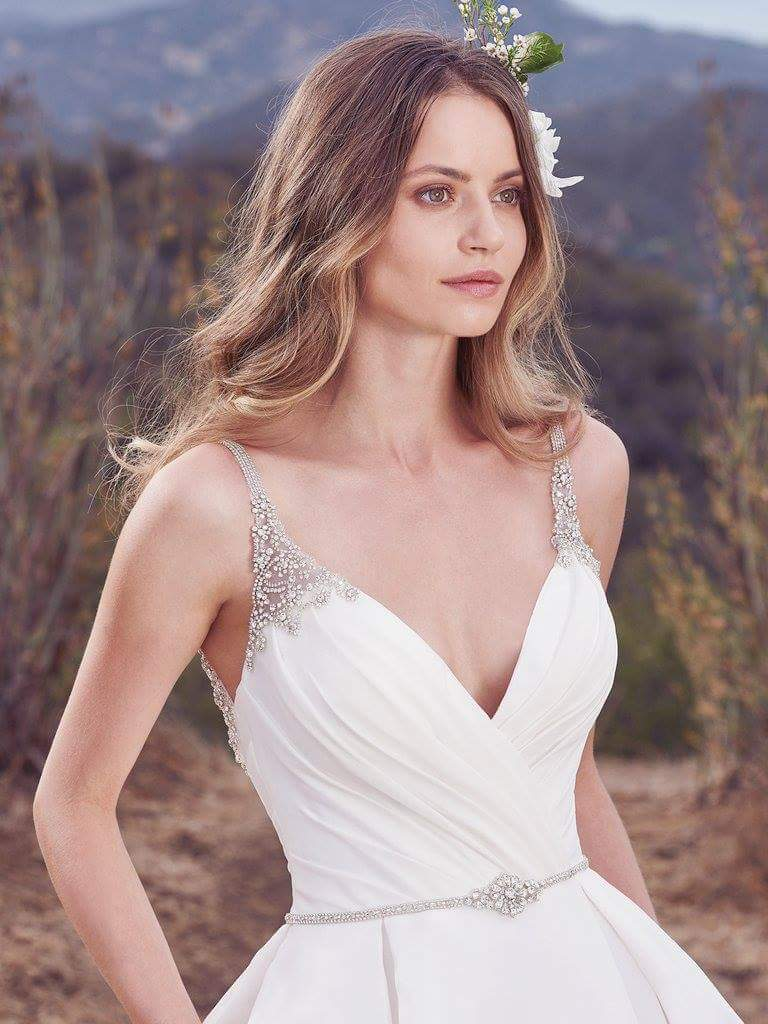 Maggie Sottero 'Rory' size 16 new wedding dress front view close up on model