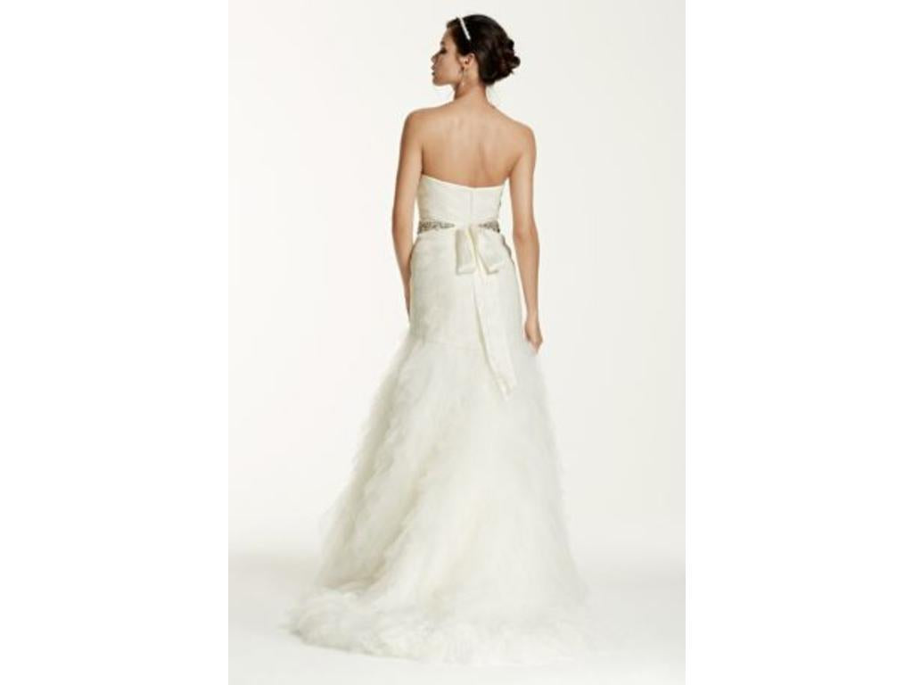 Galina Signature 'Basket Woven Trumpet' size 6 new wedding dress back view on model