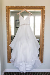 Hayley Paige '6704' size 4 used wedding dress back view on hanger
