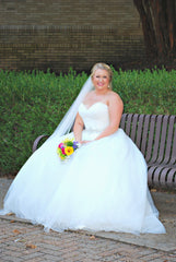 Mori Lee ' 5276' size 18 used wedding dress front view on bride
