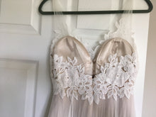 Load image into Gallery viewer, BHLDN 'Heritage' size 4 used wedding dress back view on hanger