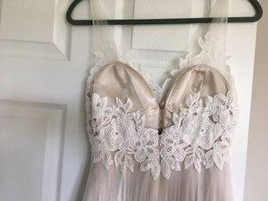 BHLDN 'Heritage' size 4 used wedding dress back view on hanger