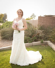 Load image into Gallery viewer, Demetrios '98241' size 6 used wedding dress front view on bride