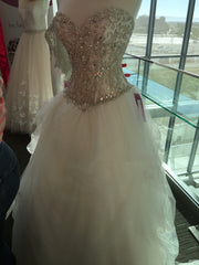 Custom 'England' size 18 new wedding dress front view on mannequin