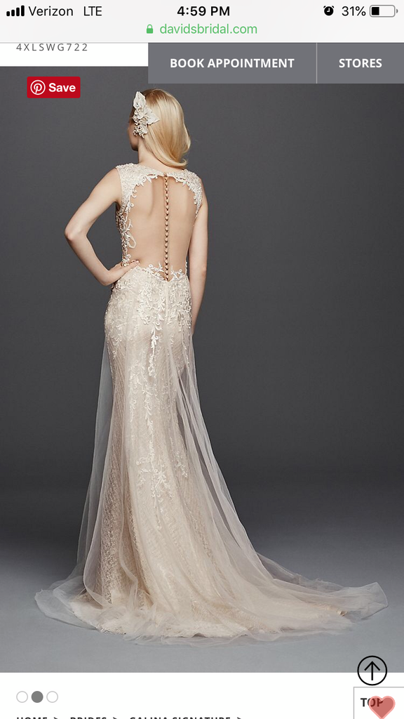 Galina Signature 'Illusion' size 6 new wedding dress back view on model