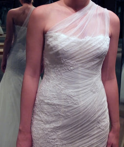 Monique Lhuillier 'Charlene' size 6 new wedding dress front view close up on bride