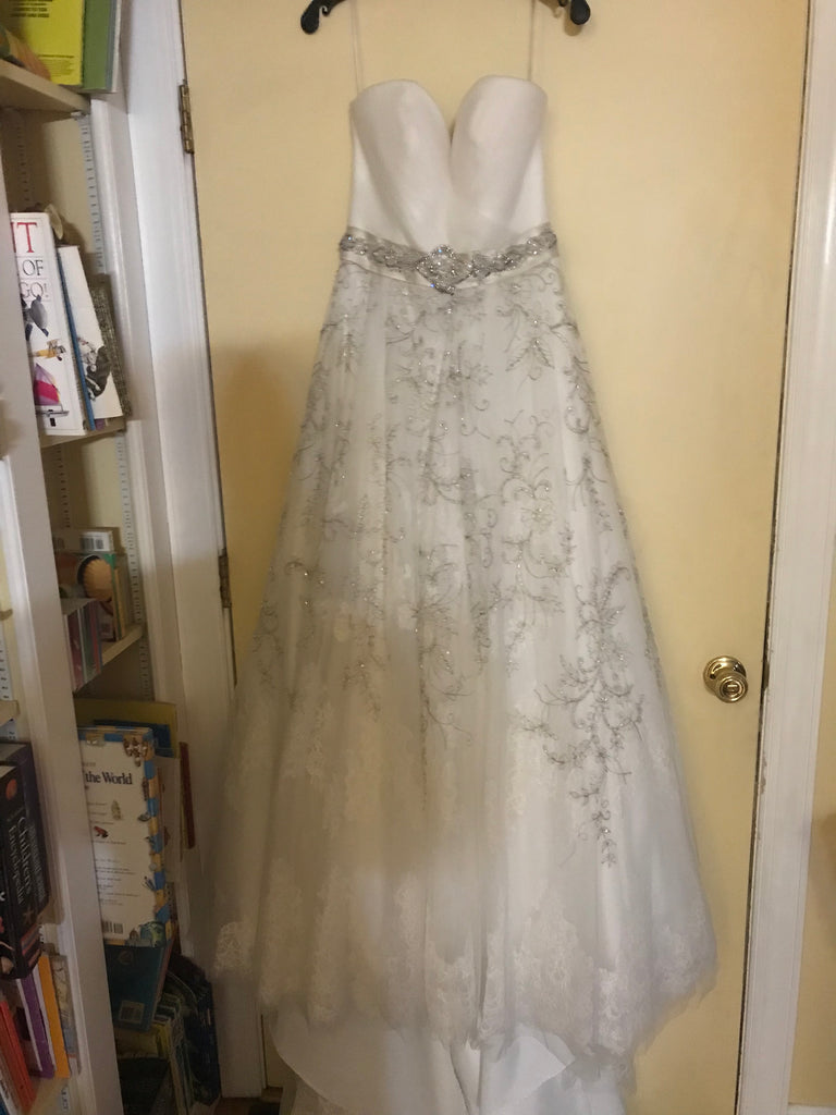 Casablanca '2136' size 10 new wedding dress front view on hanger