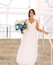 Load image into Gallery viewer, Adrianna Papell 'Beaded V Neck' size 8 new wedding dress front view on bride