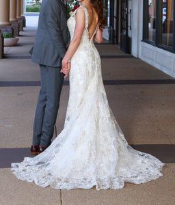 Sophia Tolli 'Y21736' size 2 used wedding dress back view on model