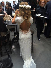 Load image into Gallery viewer, Elie Saab 'Vintage' size 2 used wedding dress back view on bride