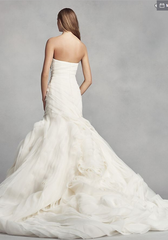 White by Vera Wang 'Bias-Tier Trumpet' size 8 used wedding dress back view on model