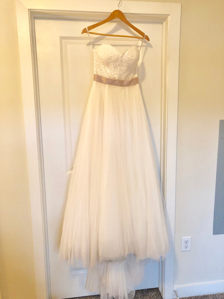 Wtoo 'Rowena' size 2 used wedding dress front view on hanger