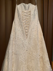 David's Bridal 'Jewel WG3755' size 00 used wedding dress back view on hanger