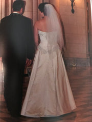 Jae Hee 'Custom Couture' size 8 used wedding dress back view on bride