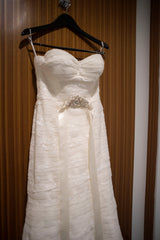 Wtoo 'Renee Lace and Tulle' size 6 used wedding dress front view on hanger