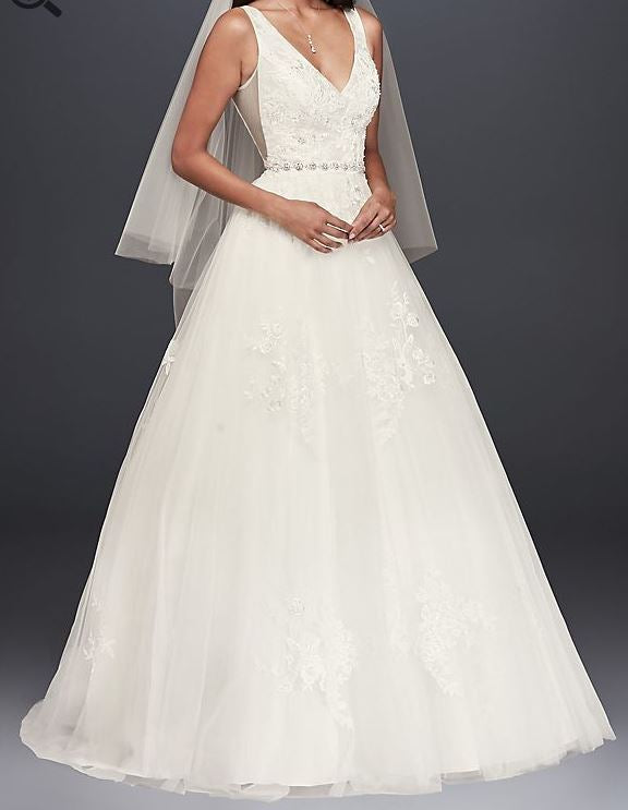 David's Bridal 'Mikado and Tulle' size 8 used wedding dress front view  on model