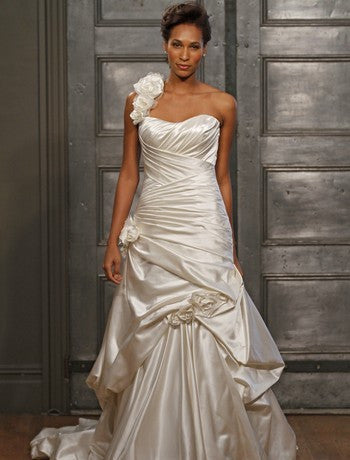 Alita Graham Crisscross Ruched Pickup Gown - Alita Graham - Nearly Newlywed Bridal Boutique - 1