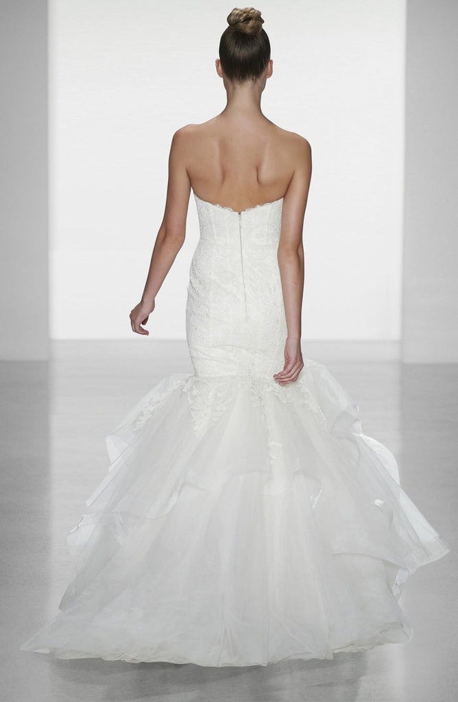 Amsale 'Carson' size 0 used wedding dress back view on model