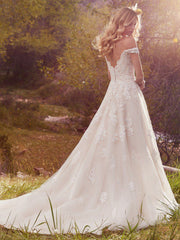 Maggie Sottero 'Saffron' size 6 used wedding dress back view on model