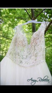 Watters '8082B' size 16 used wedding dress front view close up