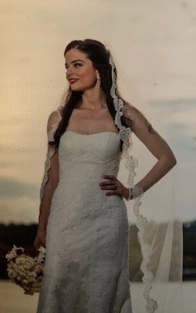 Demetrios 'Ilissa 900 RN 98249' size 2 used wedding dress front view on bride