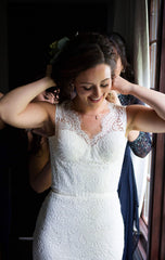 Olia Zavonzia 'Mel' size 8 used wedding dress front view on bride