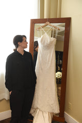 Vera Wang White '351346' size 8 used wedding dress front view on hanger