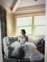 Monique Lhuillier 'Tresor' size 6 used wedding dress front view on bride