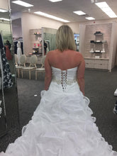 Load image into Gallery viewer, Galina Signature 'Strapless Organza' size 6 new wedding dress back view on bride
