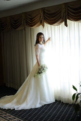 Vera Wang White Satin Faced Organza Gown with Illusion Piece Style VW351023 - Vera Wang - Nearly Newlywed Bridal Boutique - 3