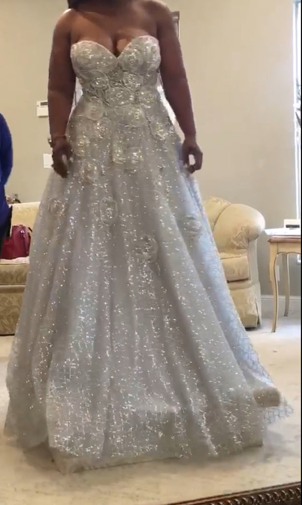 Jovani 'Silver Ball Gown' size 12 new wedding dress front view on bride