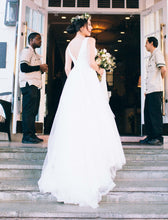 Load image into Gallery viewer, Zac Posen 'Winter 2017' size 8 used wedding dress back view on bride