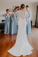 Theia 'Lauren' size 6 used wedding dress back view on bride
