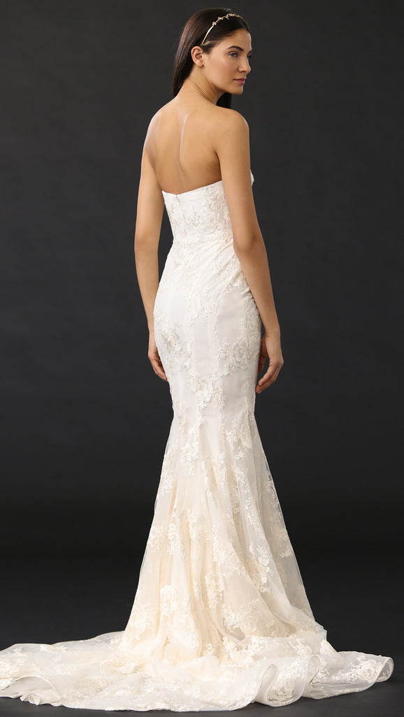 Marchesa 'Daphne' size 2 used wedding dress back view on model
