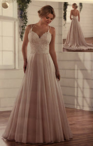Essence of Australia 'Lace Organza And Tulle' size 10 used wedding dress front view on model
